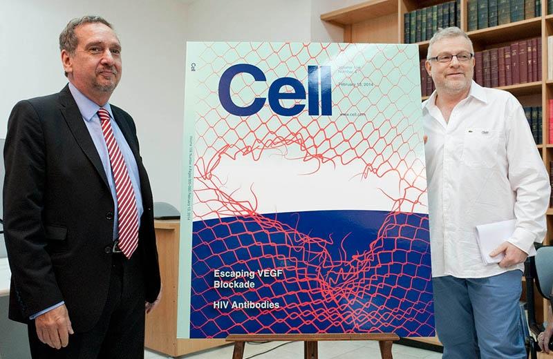 El ministro de Ciencia y Tecnología, Lino Barañao, y el bioquímico cordobés Gabriel Rabinovich, presentan un descubrimiento de investigadores del Conicet que se constituye en promesa terapéutica para tratar tumores cancerígenos resistentes