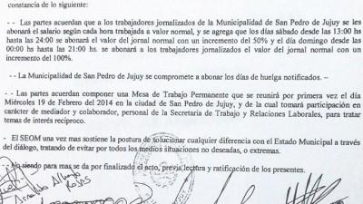 SEOM firmó acta acuerdo con la intendencia de San Pedro, esta se comprometió a pagar todas las horas trabajadas