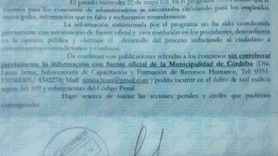 Cuestionan a una funcionaria municipal de Córdoba por amedrentar a un periodista que denunció irregularidades
