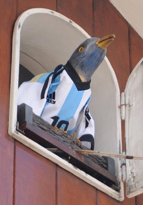 Desde ayer, el clásico pajarito de Carlos Paz sale cada media hora vestido con la camiseta argentina.