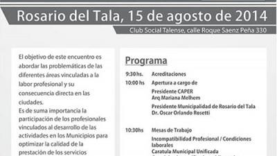 Se realizará en Rosario del Tala el 1º Encuentro de Arquitectos Municipalistas