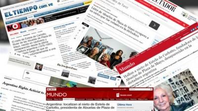 Sigue la repercusión en los diarios del mundo de la noticia del nieto de Estela Carlotto