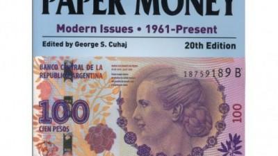 El billete de Evita, en la tapa del libro de los billetes del mundo