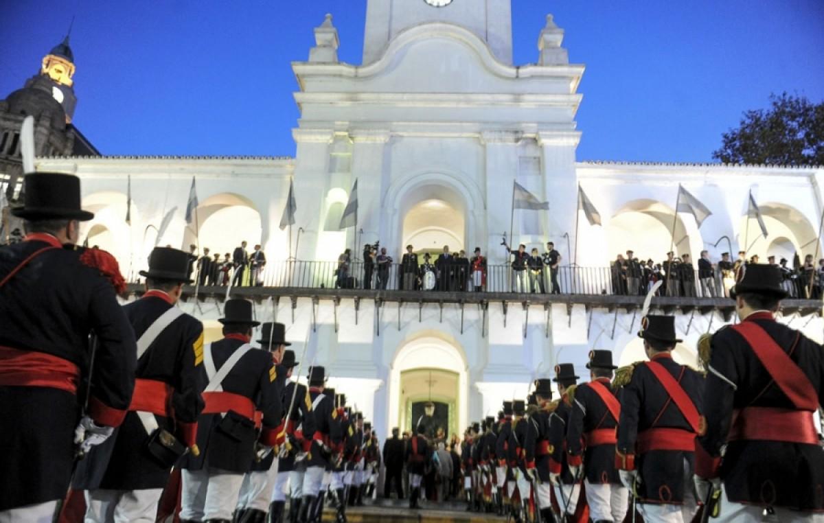 Cambio de guardia del Regimiento Patricios en el Cabildo