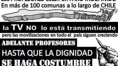 Educadores chilenos en huelga contra modelo de carrera docente