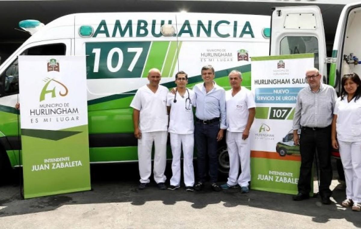 El intendente de Hurlingham presentó el servicio de emergencias médicas municipal 107