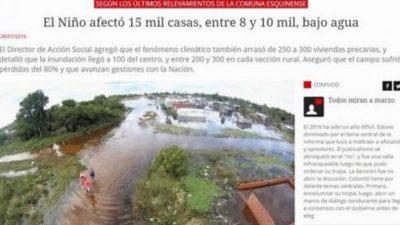 Nación sólo asistió a 40 de las 17 mil casas inundadas en Esquina