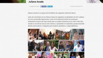 Juliana Awada publicita su marca de ropa en el portal del Gobierno