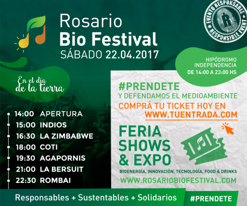 Rosario será sede del primer bio festival de música del país, 22 de abril