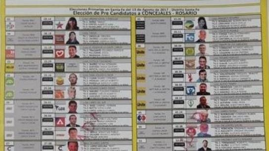 Paso: así será la boleta única de los 43 precandidatos a concejal en Rosario