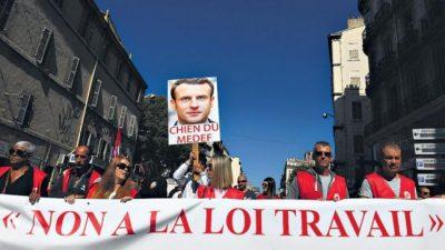 Para los obreros, Macron rima con patrón