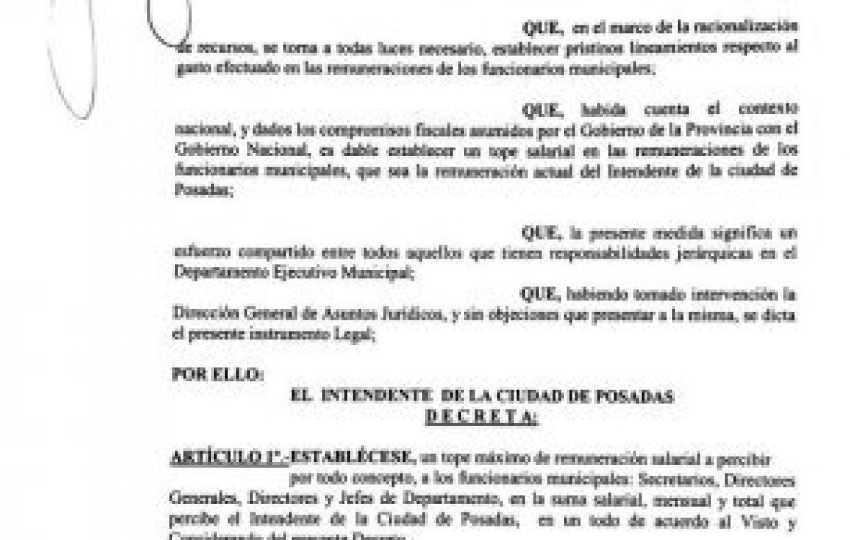 El intendente firmó el decreto para limitar los sueldos políticos del municipio de Posadas
