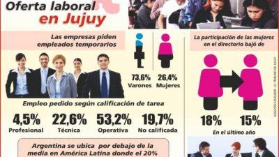 Hay escasa oferta laboral para las mujeres jujeñas