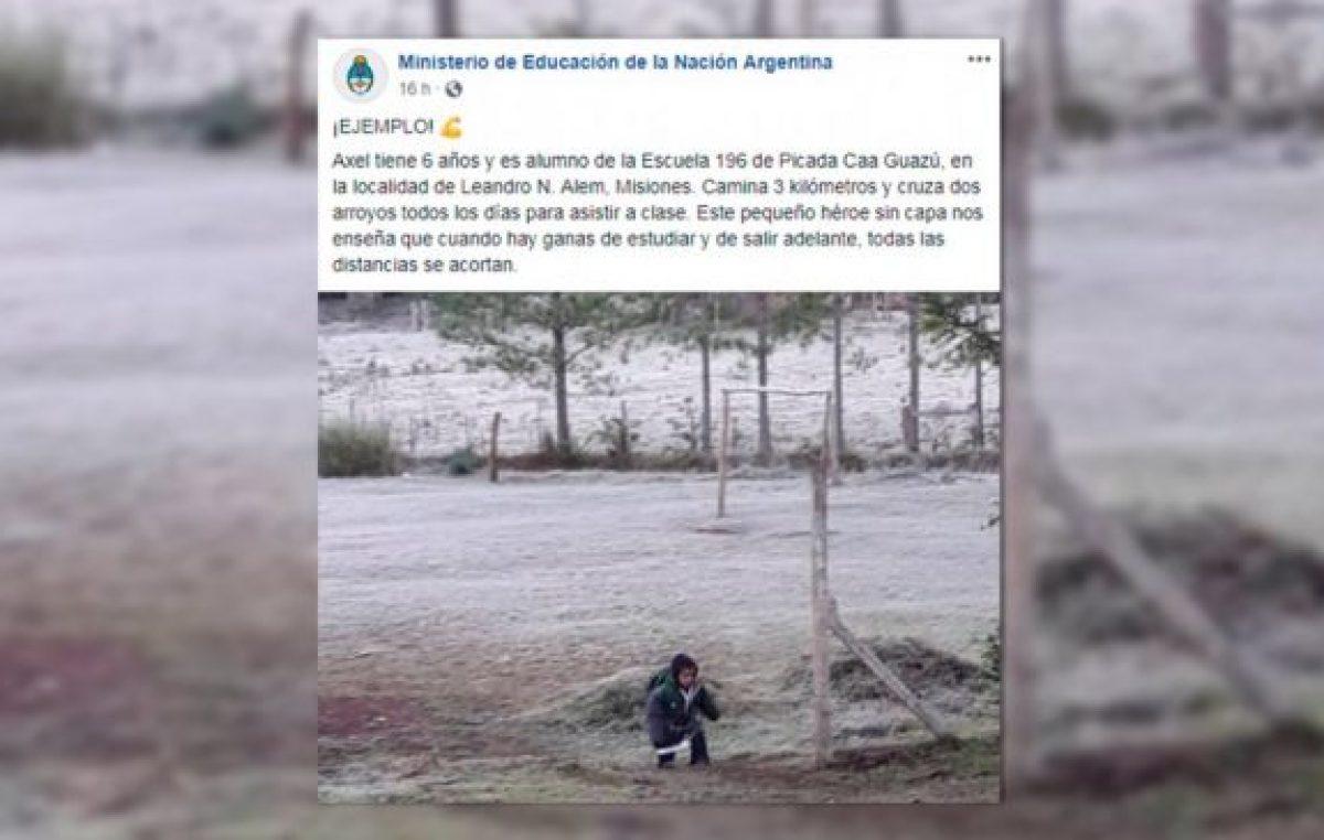 """Para el Gobierno un nene de seis años es """"héroe"""" por caminar 3 kilómetros para ir a la escuela"""