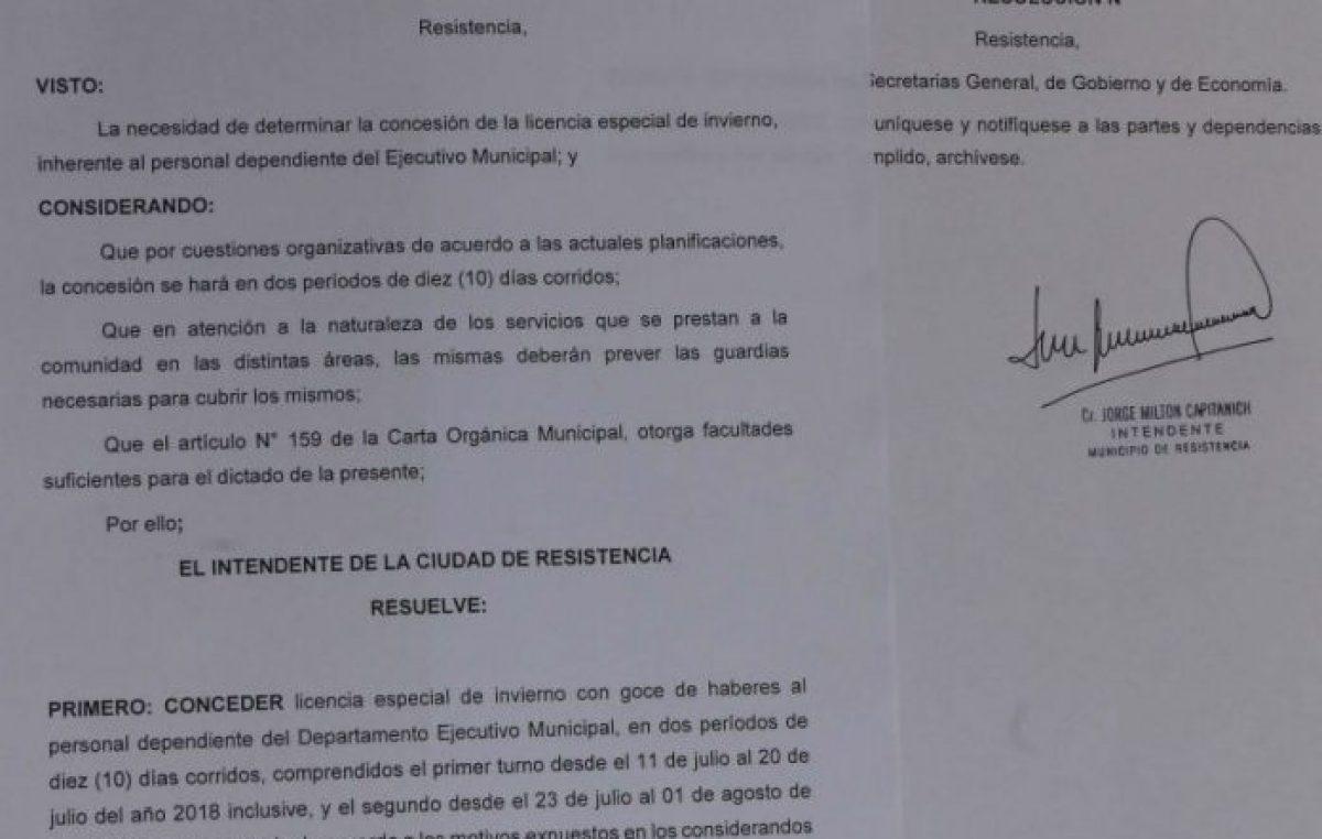 Por resolución, dispusieron la licencia de invierno para trabajadores municipales de Resistencia