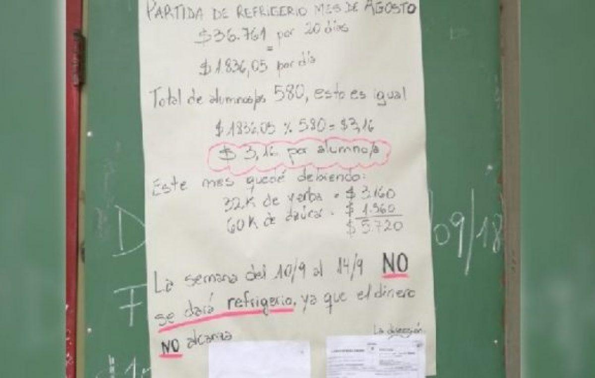 """Suspendieron el desayuno de una escuela neuquina porque """"no alcanza el dinero"""""""