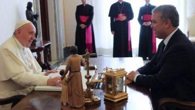 Paz y unidad para Colombia pide el Papa