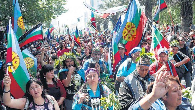 Una marcha mapuche en Chile