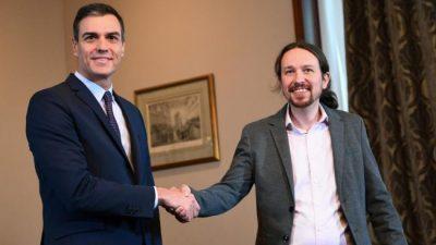 Pedro Sánchez y Pablo Iglesias pactaron un gobierno de izquierda en España