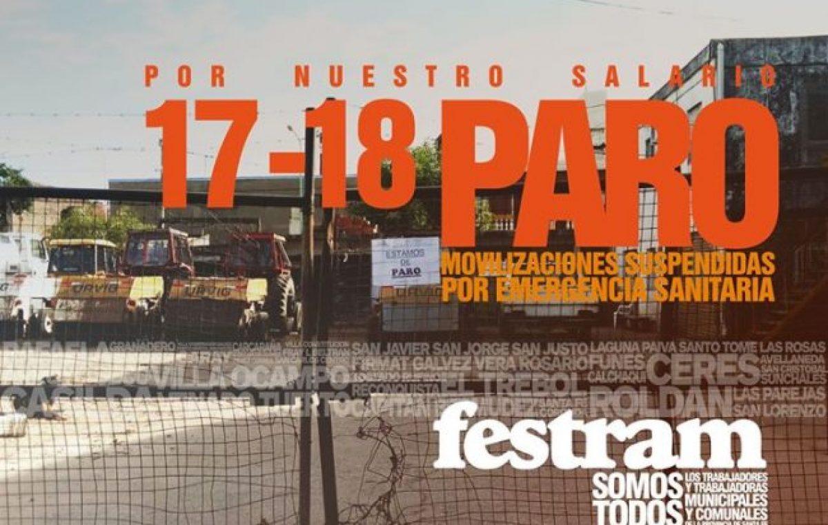 Rosario: Comienza el paro municipal por 48 horas, sin marchas y con controles en las peatonales