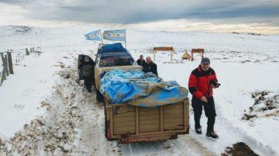 Veteranos de Malvinas solidarios, contra nieve y pandemia