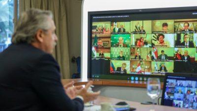 El Zoom de Alberto Fernández: las charlas con gobernadores, Kristalina y otros presidentes