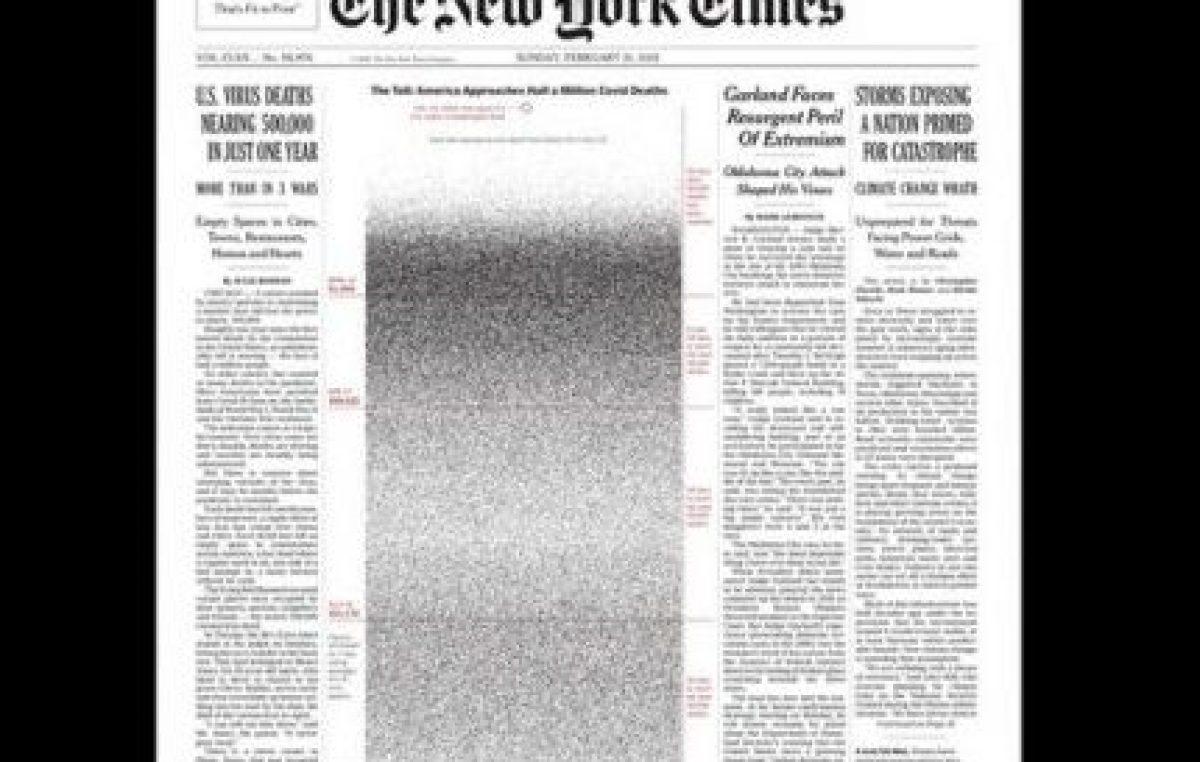 El New York Times le dedicó una impactante tapa a los muertos por coronavirus